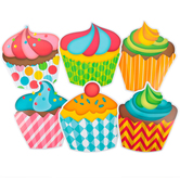 Renewing Minds, Jumbo Shaped Cutouts, Cupcakes, 10 Inch, 6 Designs, 12 Pieces
