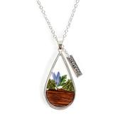 Faith in Bloom, Isaiah 40:8 Teardrop Pendant Necklace, Zinc Alloy, Silver, 20 Inch Chain