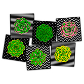 Flagship Carpets, Succulent Seating Rug, Assorted, Multi-Colored, 15 Inches x 15 Inches, 1 Each