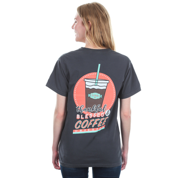 Beautifully Blessed, Thankful Blessed Coffee Obsessed, Women's Short Sleeve T-Shirt, Graphite, S-2XL