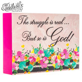 Fiddlestix Paperie, Spring Flower Struggle is Real Sign, MDF Wood, Pastel Floral, 7 x 5 x 1 1/2 inches