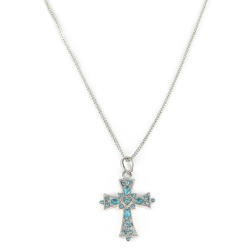 H.J. Sherman, Blue Cubic Zirconia Cross Pendant Necklace, Sterling Silver, 18 inches