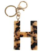 H Letter Keychain, Leopard, 2 3/4 x 2 1/4 Inches