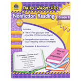 Teacher Created Resources, Daily Warm-Ups Nonfiction Reading Workbook, Reproducible, 176 Pages, Grade 6