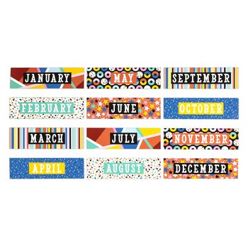 Colorfetti Collection, Monthly Calendar Headers Set, 5 x 16 Inches, 12 Pieces