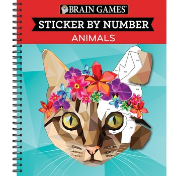 Brain Games Sticker By Number: Animals, by Publications International Ltd., Spiral Bound