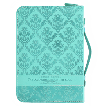 Divinity Boutique, Psalm 94:19 Thy Comforts Delight My Soul Bible Cover, Teal, Multiple Sizes Available