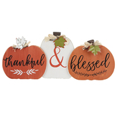 Thankful & Blessed Pumpkins Tabletop Plaque, Wood, Orange & White, 15 1/2 x 6 3/4 inches