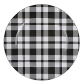 Buffalo Check Plaid Plate Charger, Plastic, Black & White, 13 inches