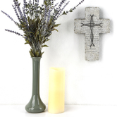 Matthew 6:9-13 Lord's Prayer Wall Cross, Resin, Gray, 10 x 6 3/4 x 3/4 inches