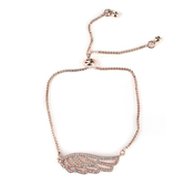 Faithful and Fabulous, Angel Wing Slide Bracelet, Brass and Cubic Zirconia, Rose Gold