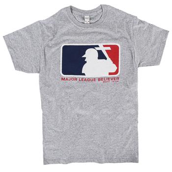 SonTeez, Matthew 16:24 Major League Believer, Men's Short Sleeved T-Shirt, Heather Gray, S-2XL