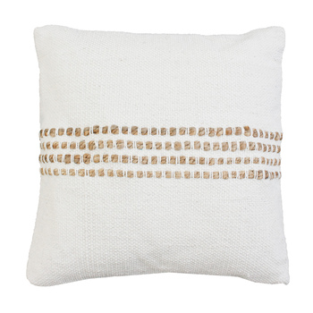 White and Jute Striped Square Pillow, Cotton, 19 x 19 1/2 x 6 inches