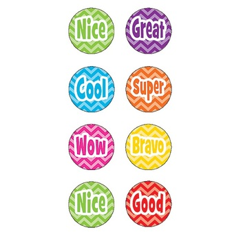 Teacher Created Resources, Chevron Mini Stickers, Multi-Colored, Pack of 378