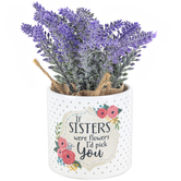 Carson Home Accents, If Sisters Were Flowers Planter with Flowers, Ceramic, 7 1/2 x 3 1/2 inches