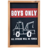Boys Only Wall Decor, Wood, Navy and Red, 16 x 11 x 1 1/4 inches