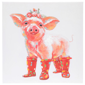 Pig Wearing Red Rain Boots Wall Decor, Canvas and MDF, White and Pink, 20 1/16 x 20 x 1 1/2 inches