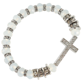 Howard's, Rhinesone Cross and Beaded Stretch Bracelet, White and Silver