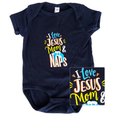 New Ewe, I love Jesus Mom & Naps, Baby Short Sleeve Onesie, Navy, 18 Months