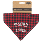 Open Road Brands, Rescued & Loved Dog Bandana, Polyester, Red & Black, 6 1/4 x 7 3/4 inches