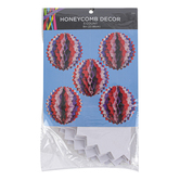 Brother Sister Design Studio, Patriotic Honeycomb Sphere Decor, 9 inches, Set of 5