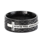 Spirit & Truth, Ephesians 6:11, Armour of God Diamond Back Cross, Men's Ring, Stainless Steel, Black, Sizes 8-12