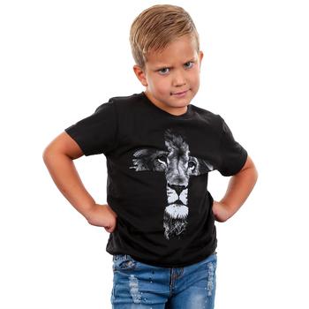 NOTW, Lion Cross, Kid's Short Sleeve T-shirt, Black, 3T-YL