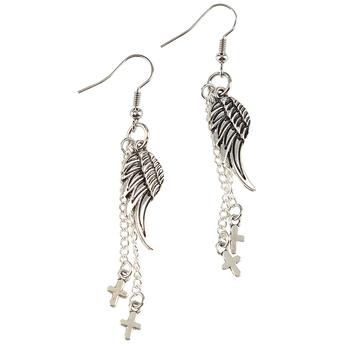 Bella Grace, Angel Wing Dangle Earrings with Cross Charms, Silver Toned, Zinc Alloy