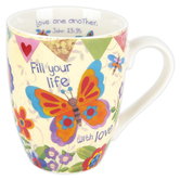 Divinity Boutique, Ephesians 5:2 Fill Your Life With Love Butterfly Coffee Mug, Ceramic, 12 ounces