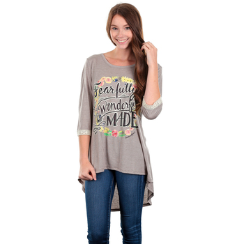 Southern Grace, Fearfully and Wonderfully Made, Women's 3/4 Sleeve T-shirt, Tan, S-2XL