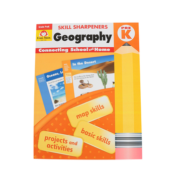 Evan-Moor, Skill Sharpeners Geography Pre-K Activity Book, Paperback, 144 Pages, Grade Pre-K