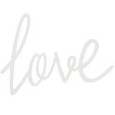 Love Wall Decor, Metal, White, 7 1/2 x 11 3/4 inches