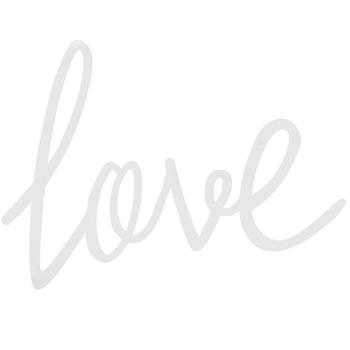 Love Wall Decor, Metal, White, 7 1/2 x 11 3/4 inches