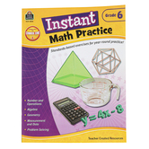 Teacher Created Resources, Instant Math Practice Workbook, Reproducible Paperback, 144 Pages, Grade 6