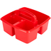 Storex, Small Caddy, Red,  3 Compartments, Plastic, 9.25 x 9.25 x 5.25 Inches, 1 Piece
