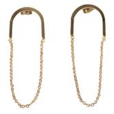 Modern Grace, Psalm 31:24 Horseshoe with Chain Dangle Earrings, Zinc Alloy, Gold