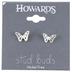 Howard's, Stud Buds, Butterfly Stud Earrings, Metal, Silver, 1/4 inches