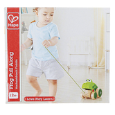 Hape, Pull Along Frog, Wood, 4 3/4 x 3 3/4 x 3 1/4 inches
