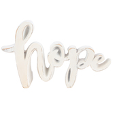 Hope Word Sign, Resin, White, 6 x 3 5/8 x 1 1/4 inches
