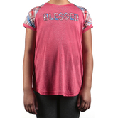 Southern Grace, Blessed, Kid's Short Sleeve T-shirt, Pink and Plaid, Ages 2-12