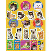 Eureka, Motivational Cat Stickers, 1 x 1 Inch, Multi-Colored, Pack of 36