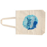 Rooted Soul, Jonah 2:2 I Called to the Lord Canvas Tote Bag with Handles, Cream and Blue, 13 1/2 x 15 3/4 inches