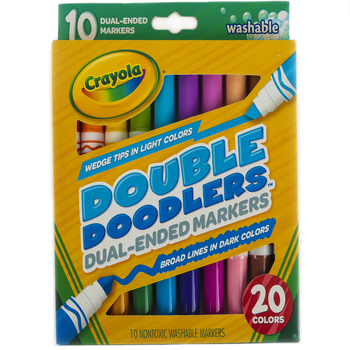 Crayola, Double Doodlers Washable Markers, 10 Count, Assorted Colors, Ages 3 and up