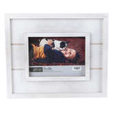 Green Tree Gallery, Distressed White Slatted Wood Tabletop Photo Frame, 12 x 10 Inches