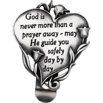 God is Never More Than a Prayer Away Heart Visor Clip