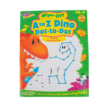 TREND, A to Z Dino Dot-to-Dot Dino-Mite Pal Wipe-Off Book, 27 Pages, Grades PreK-K