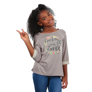 Southern Grace, Fearfully and Wonderfully Made, Kid's 3/4 Sleeve T-shirt, Tan, Ages 2-12