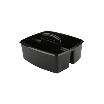Storex, Large Caddy, Black, 2 Compartments, Plastic, 13 x 11 x 6.38 Inches, 1 Piece