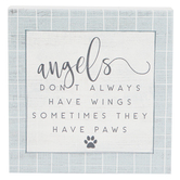 Sincere Surroundings, Angels Sometimes Have Paws Wood Block, White, 5 1/4 x 5 1/4 x 1 1/4 Inches