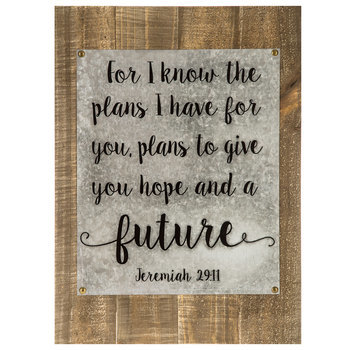 I Know the Plans Metal and Wood Panel Wall Art, Natural, 16 x 22 x 3/8 inches